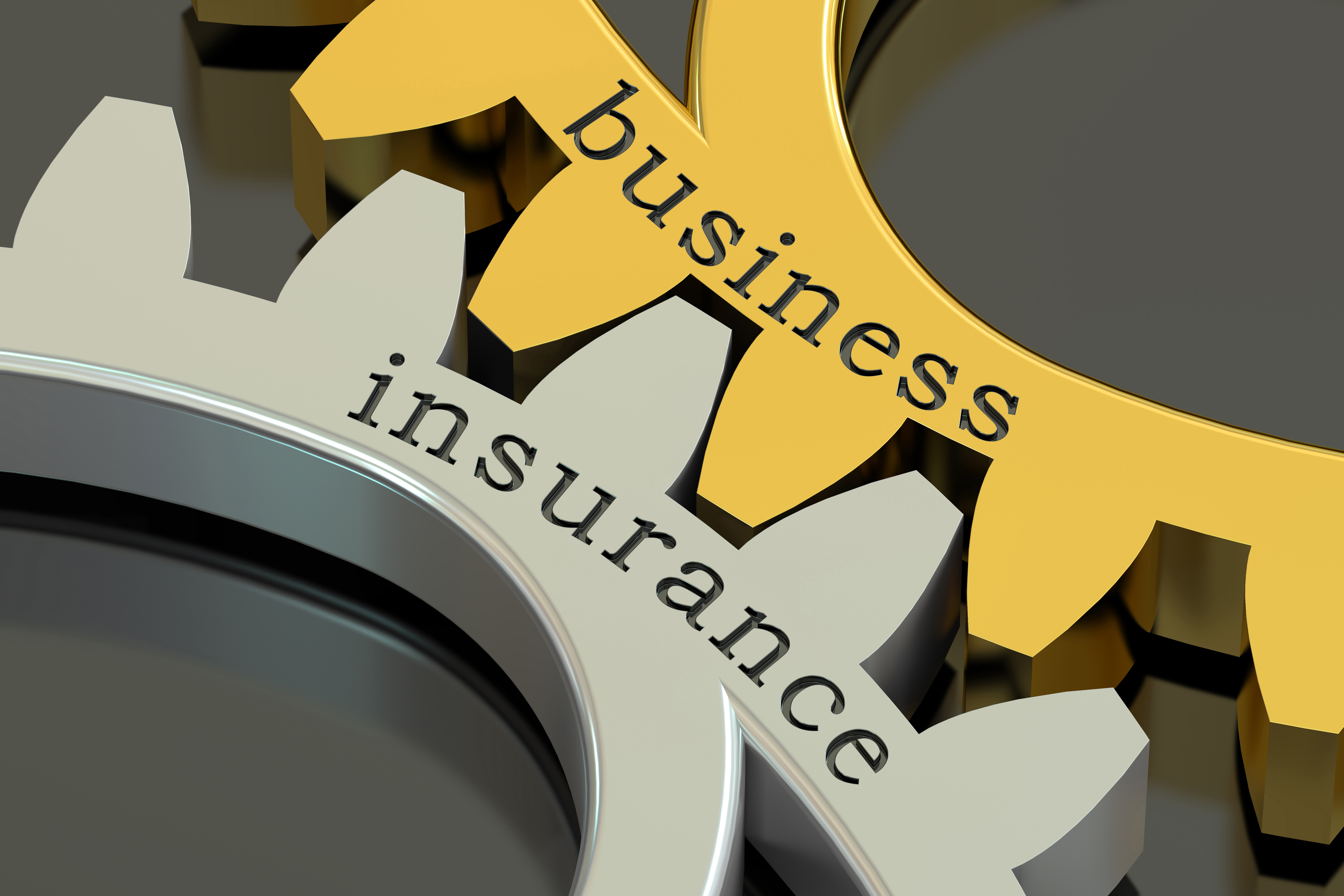 Business Insurance, concept on the gearwheels, 3D rendering
