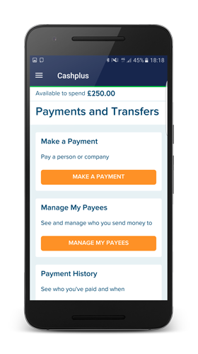 The cash plus website on a mobile phone