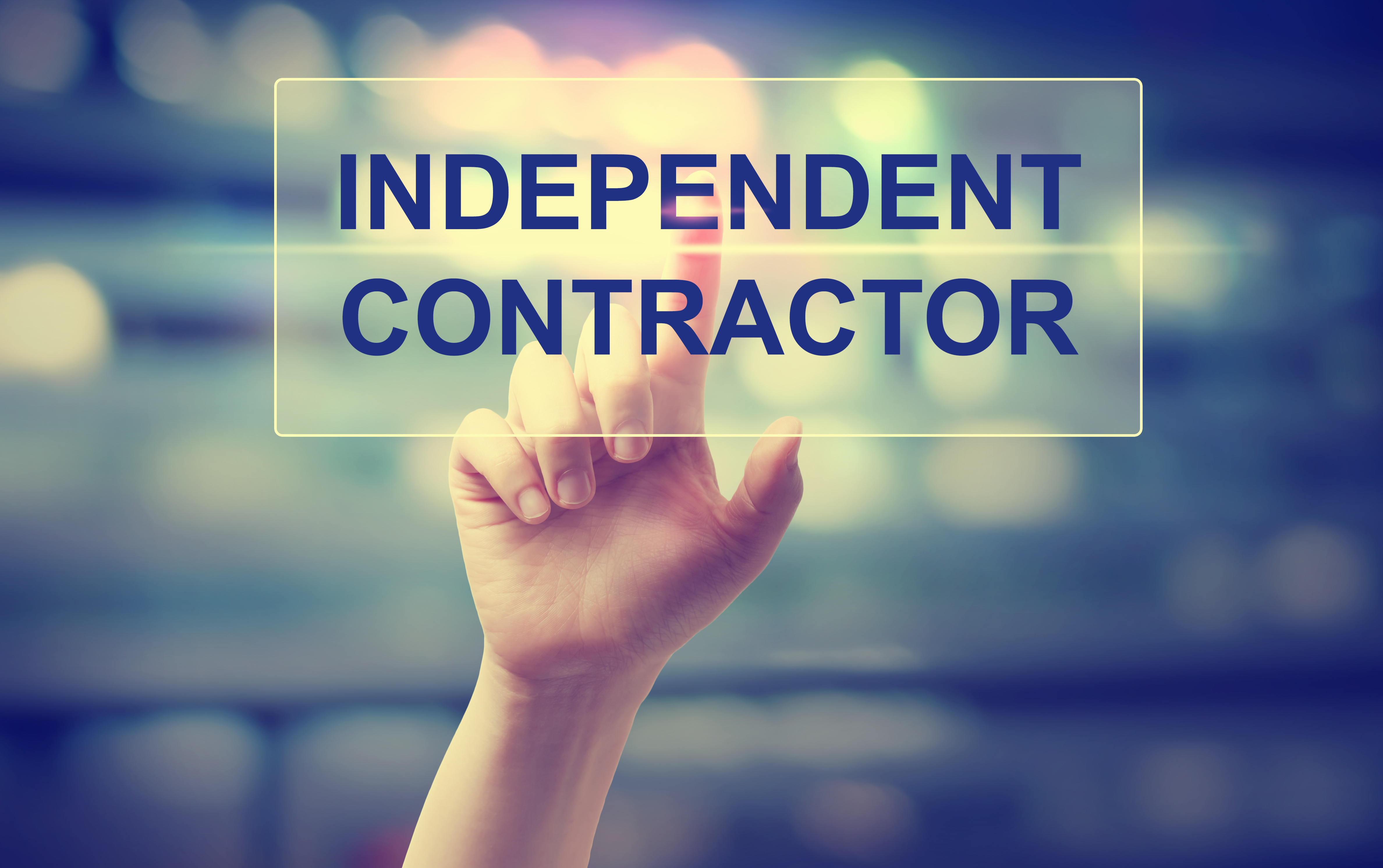 Independent Contractor concept with hand